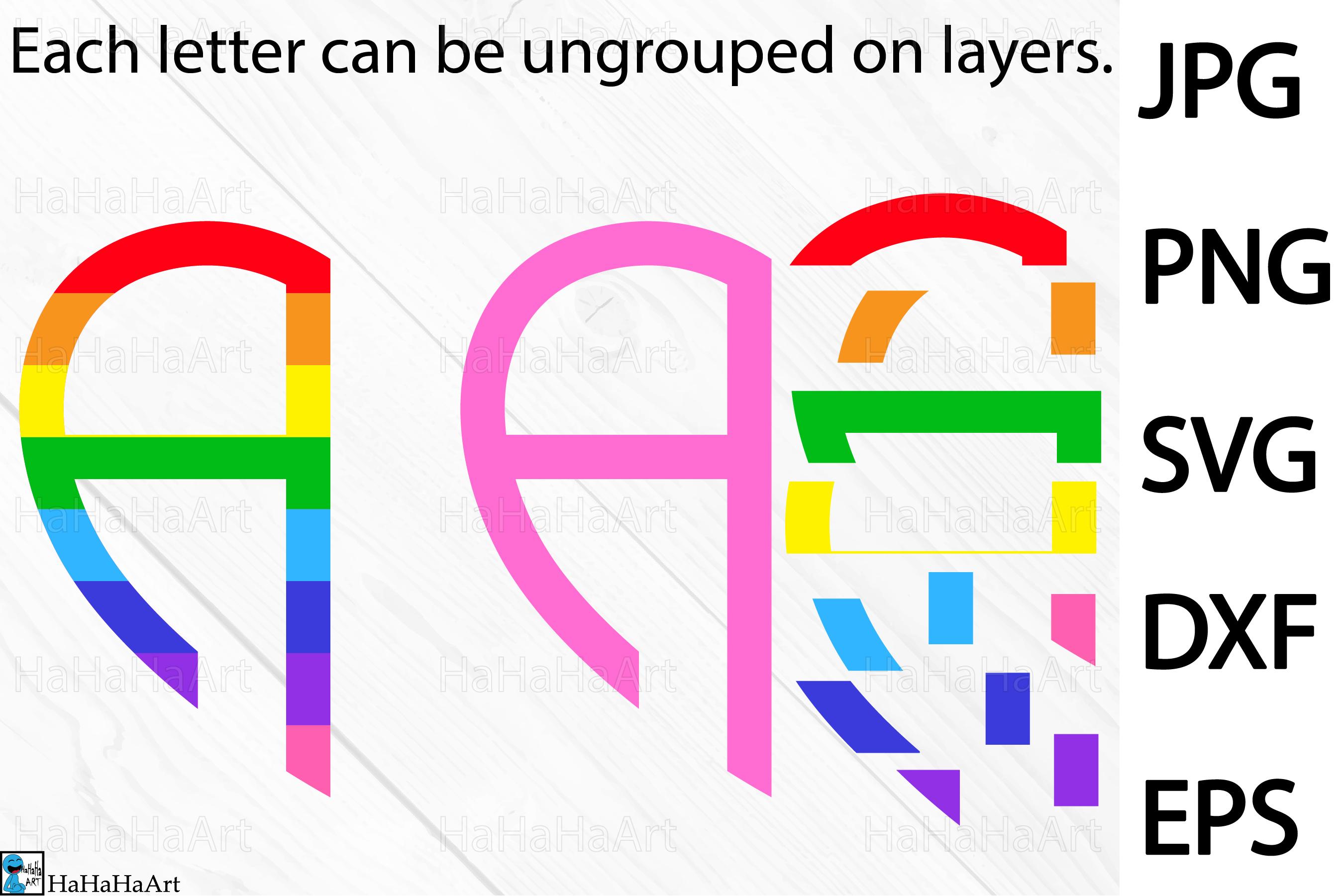 Rainbow Heart Alphabet - Clip art / Cutting Files 193c example image 2
