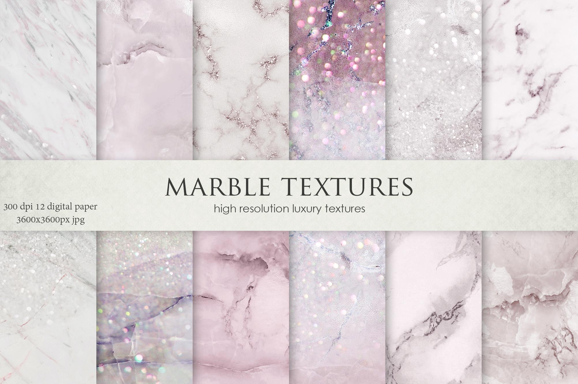 Rose Marble Digital Paper BUNDLE example image 2