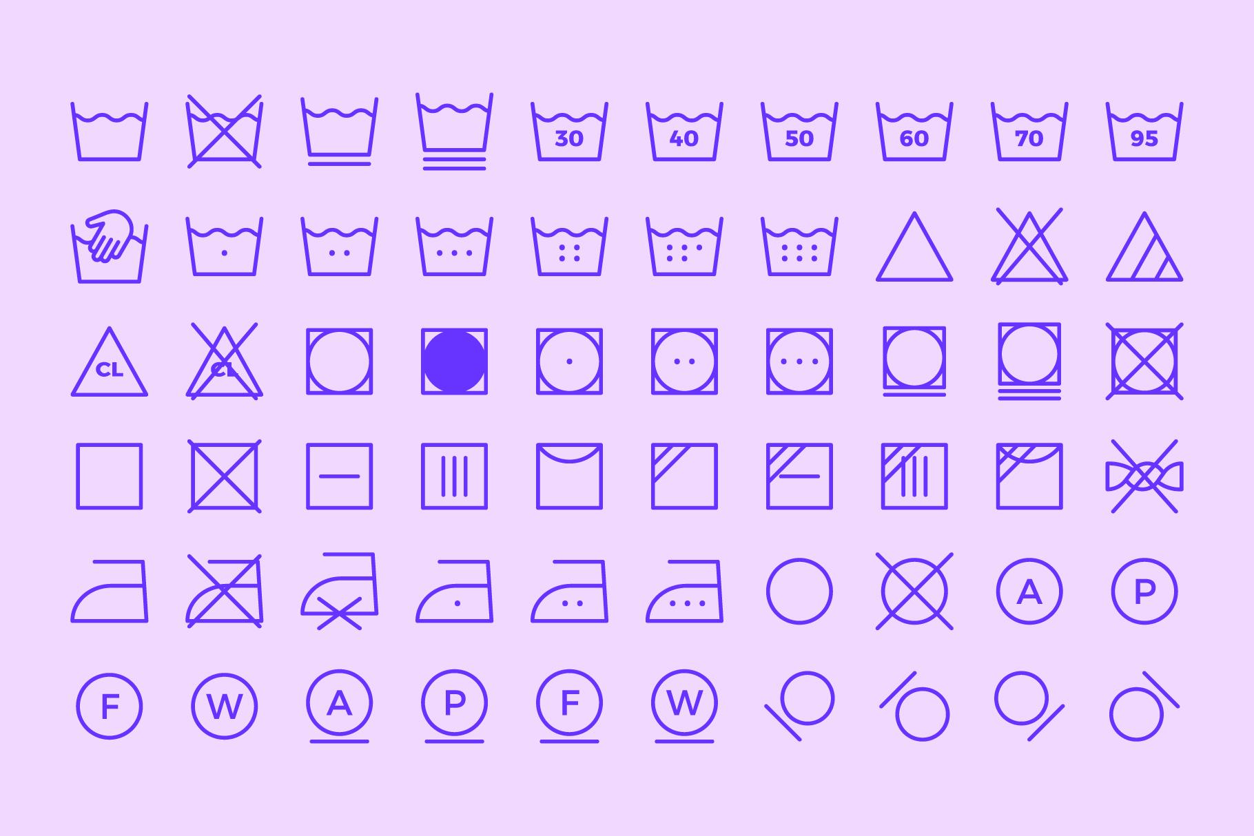 Laundry Symbols | Line icons example image 4