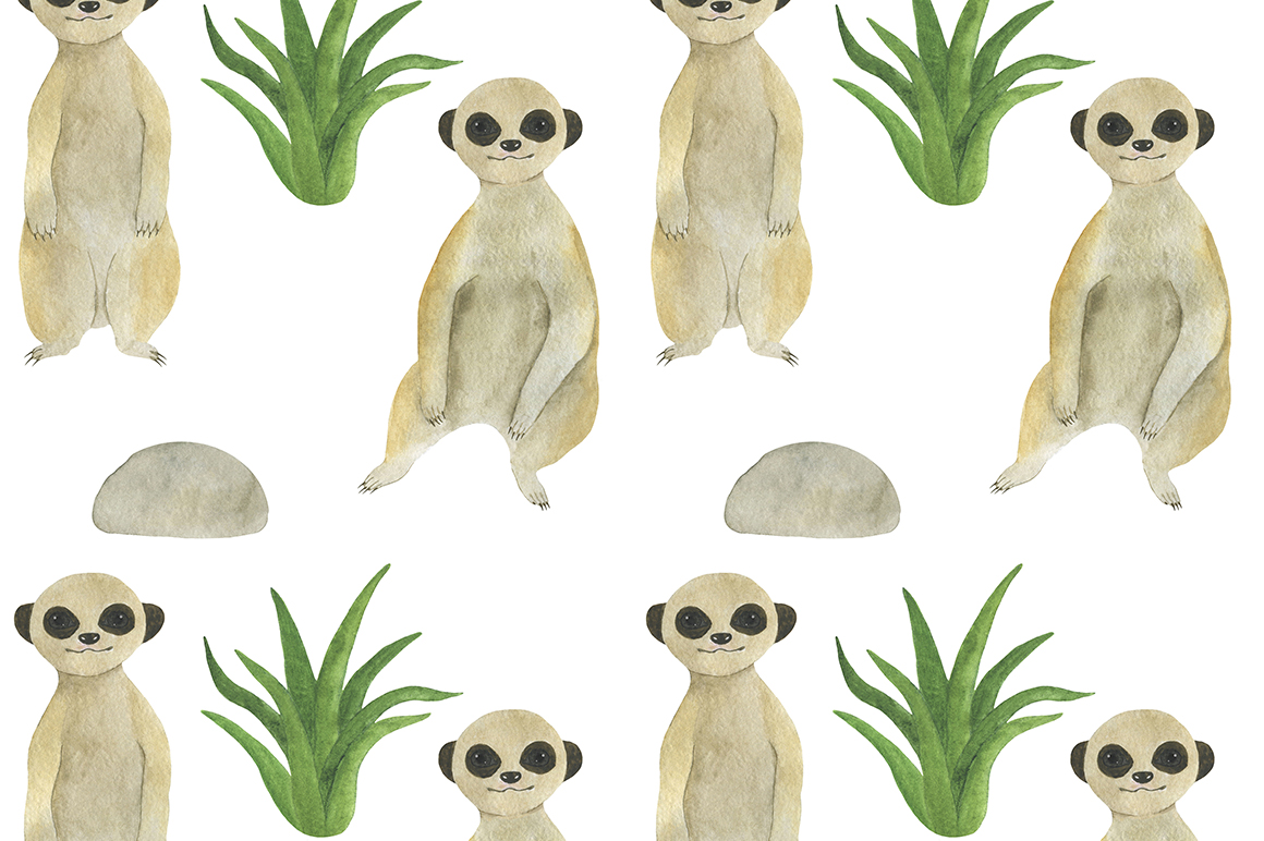 Set meerkats illustrations watercolor example image 8