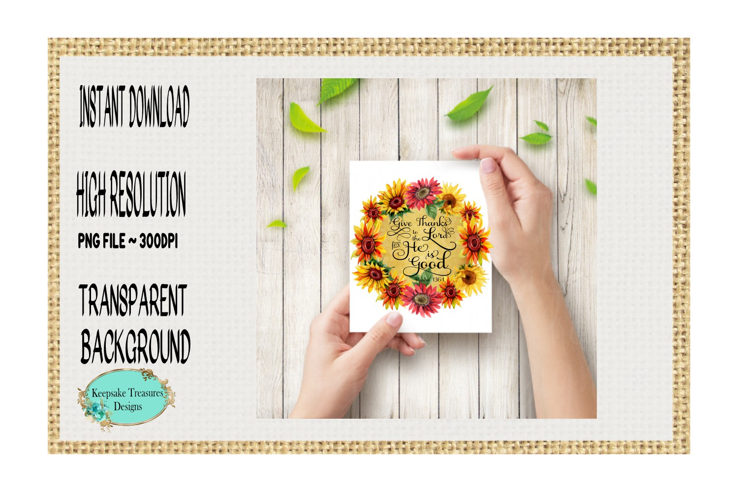 Give Thanks to The Lord, Psalms 136, Sublimation Design example image 3