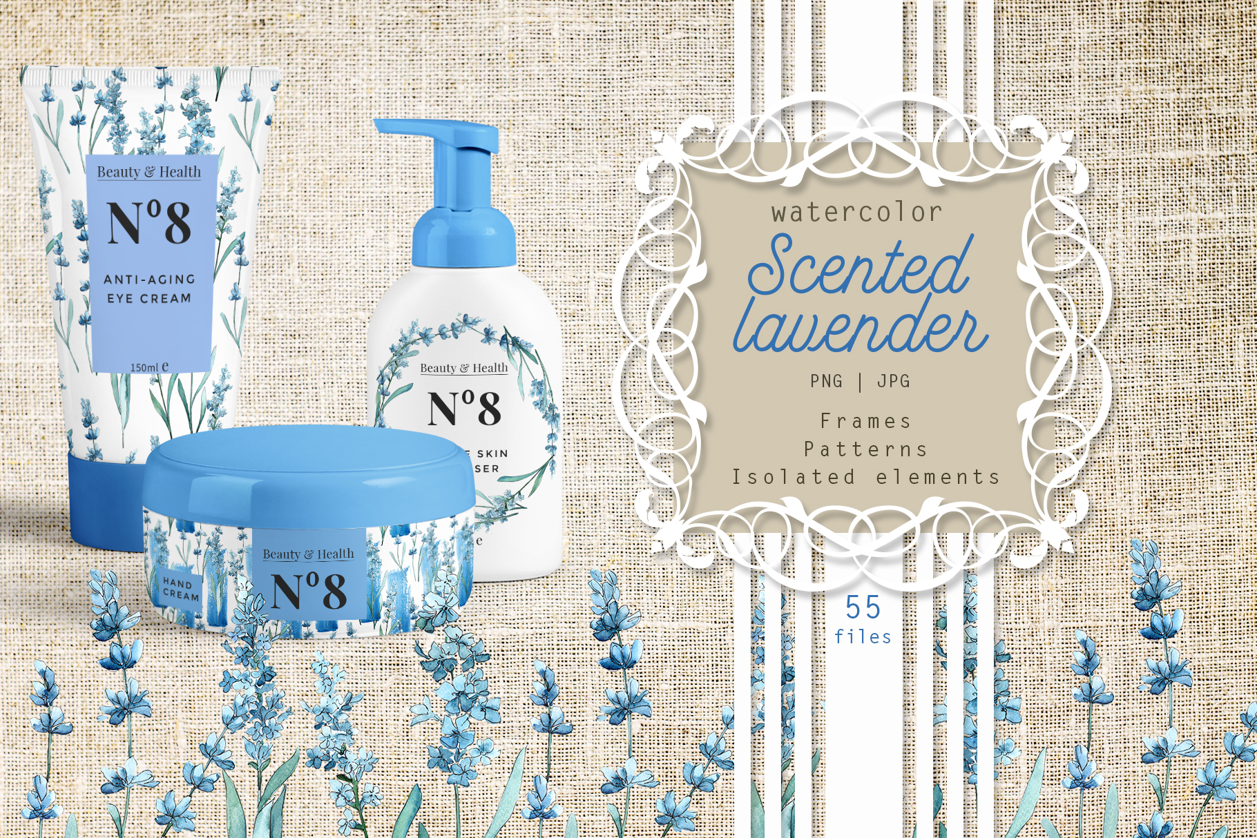 Scented lavender PNG watercolor flower set example image 1