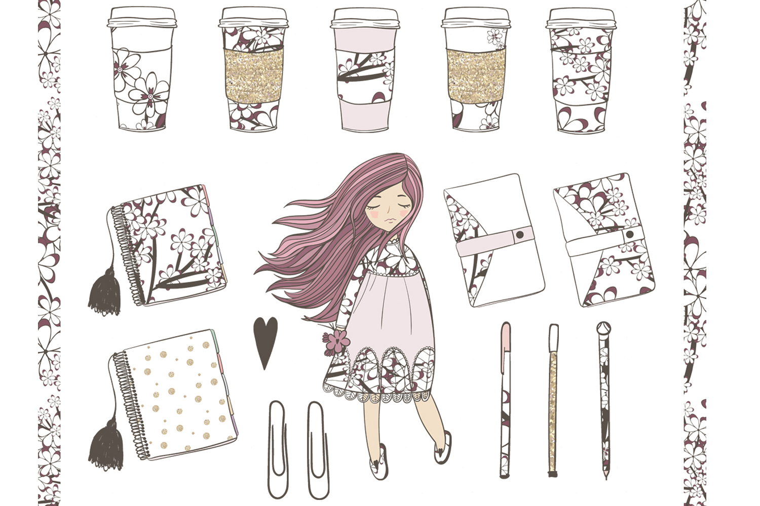 Planner Girl Clipart example image 2