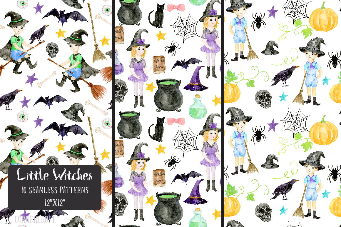 Little Witches Watercolor Design Kit example image 14