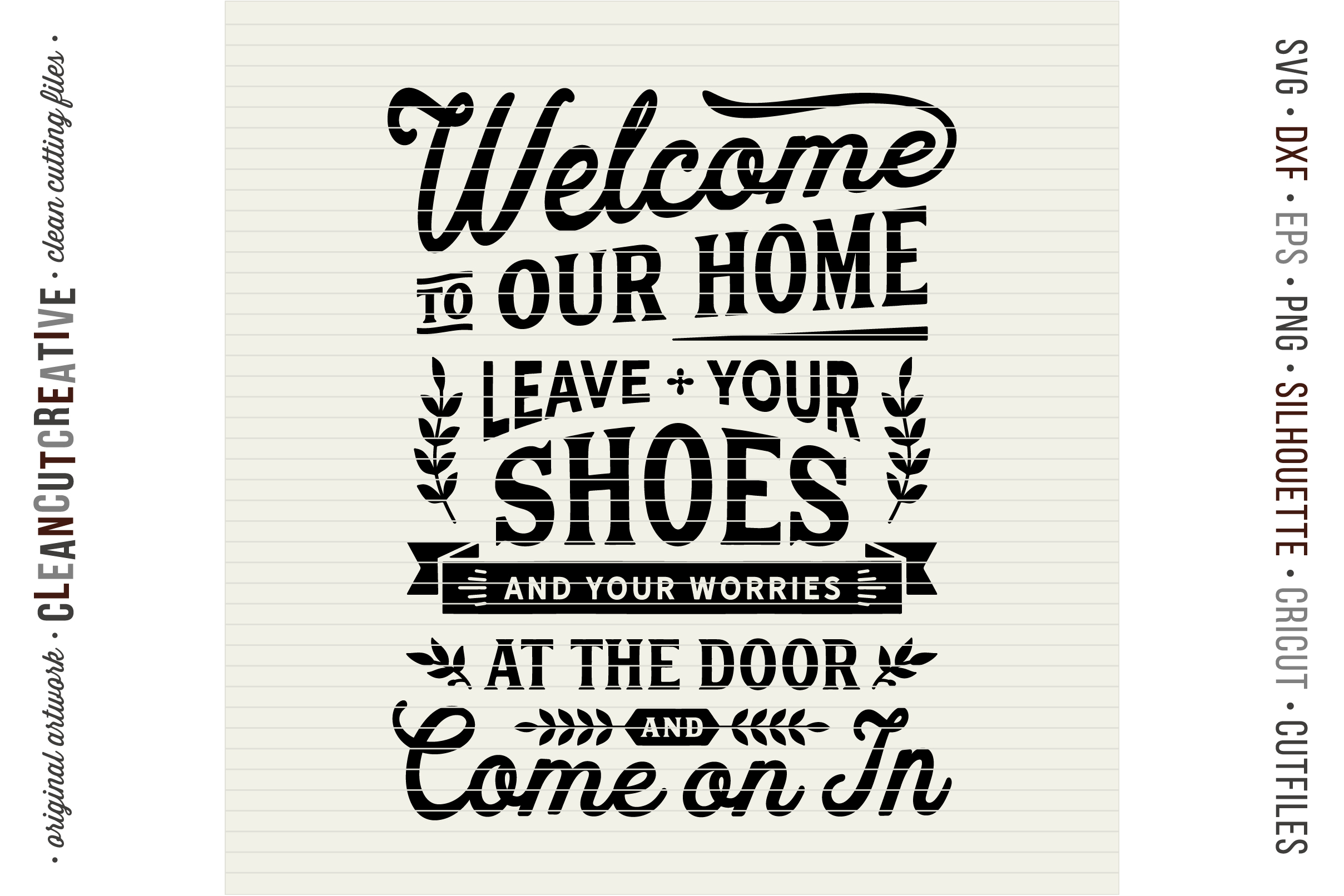 Leave Shoes and Worries at the Door - entry/mudroom sign svg example image 3