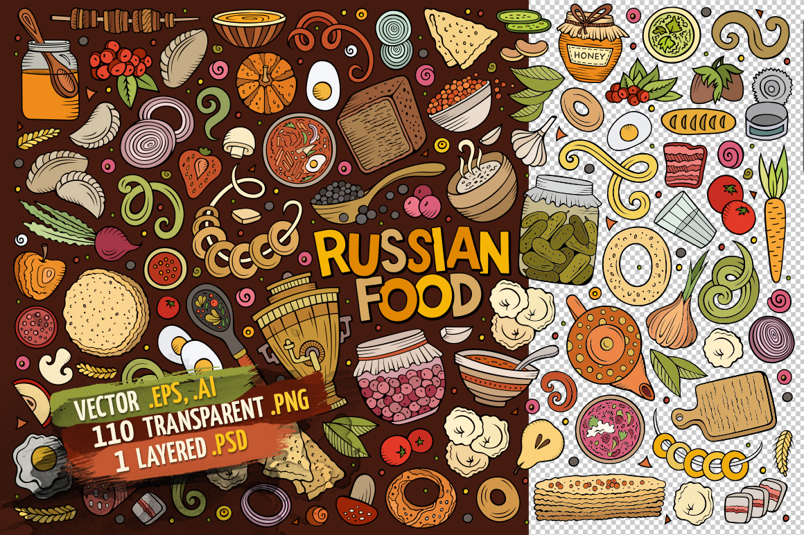 Russian Food Objects & Symbols Set example image 2