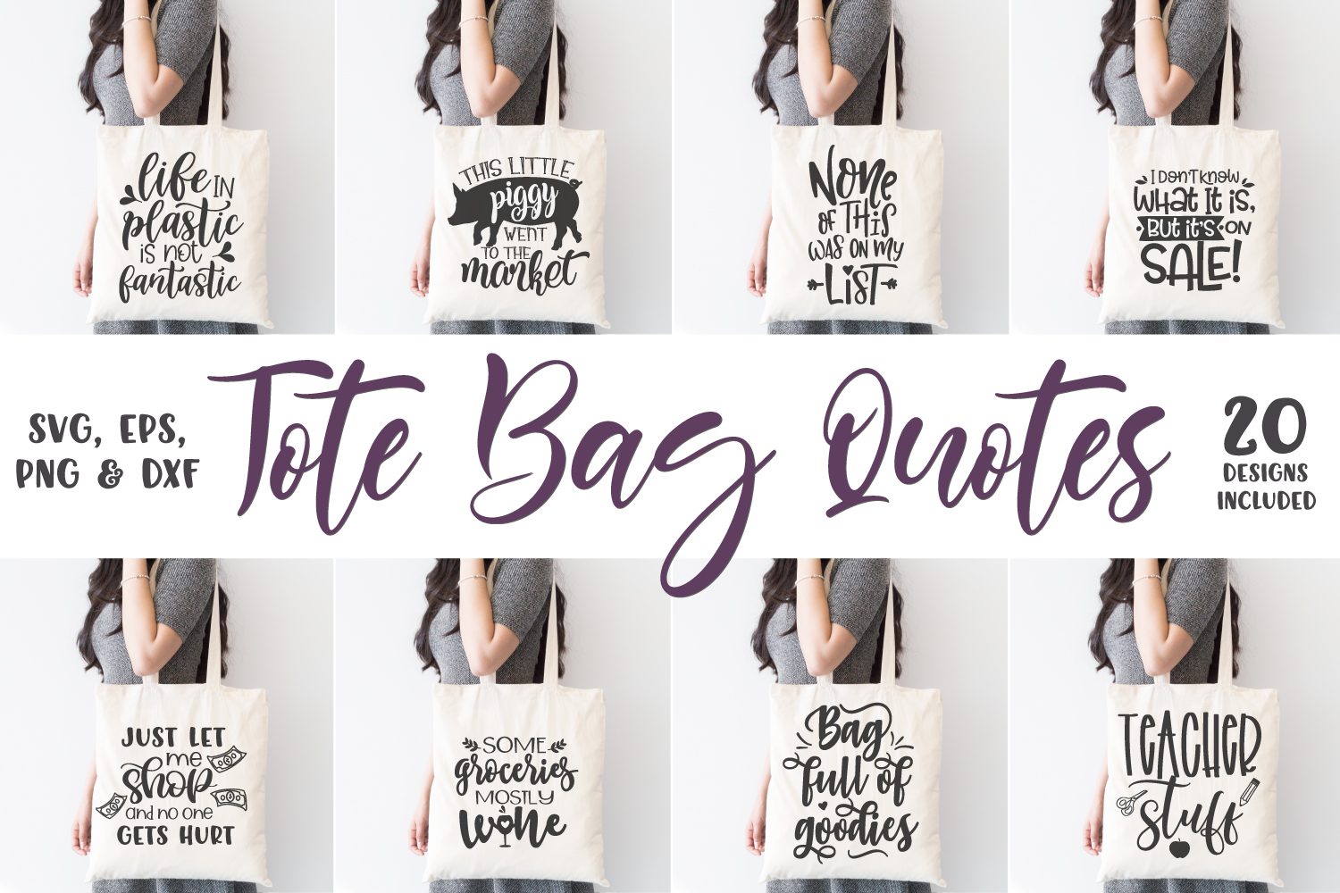 Tote Bag Quotes, Funny Sayings Bundle, Tote Bag Svg Designs example image 1