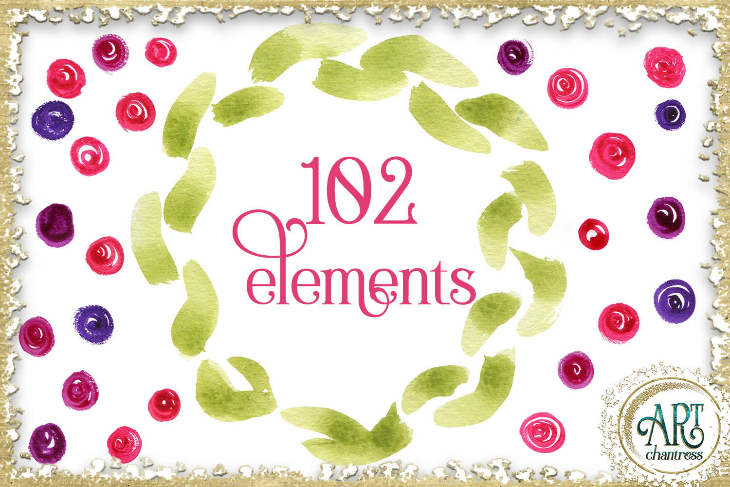 Spring floral fuchsia clipart 102 - PNG digital frames example image 4