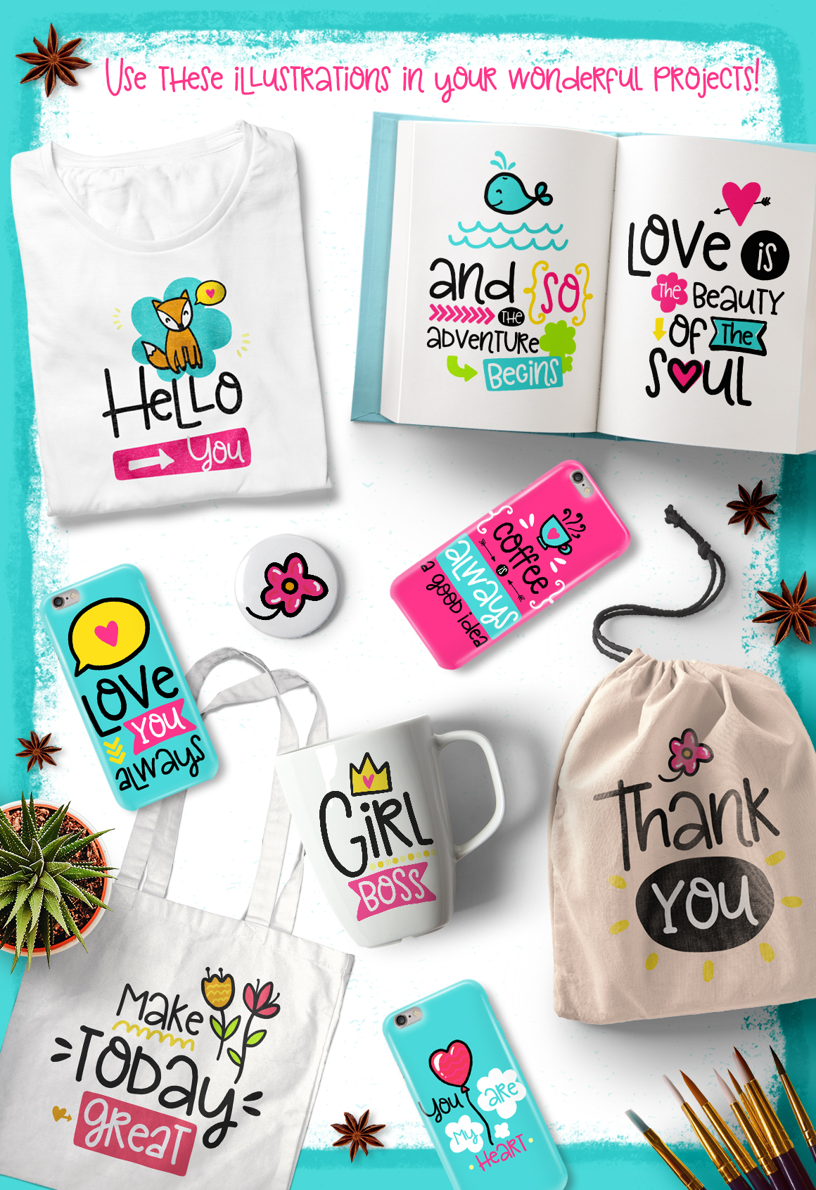 30 Funny Lettering Cards Collection example image 2