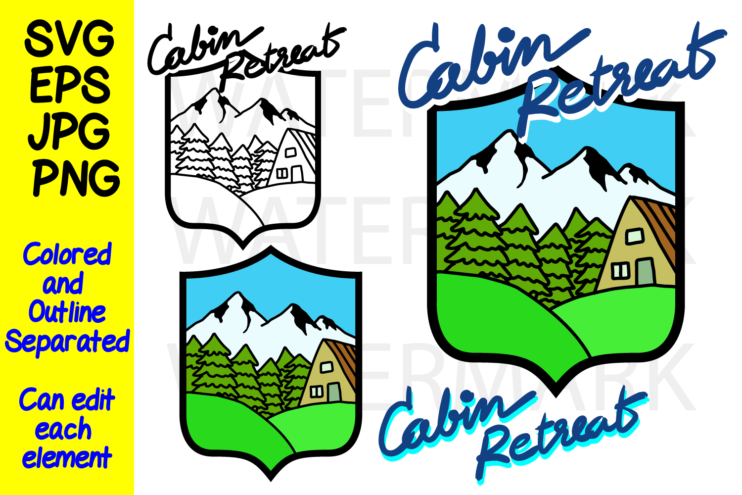 Cabin Retreat - Mountain Cabin- SVG-EPS-JPG-PNG example image 1