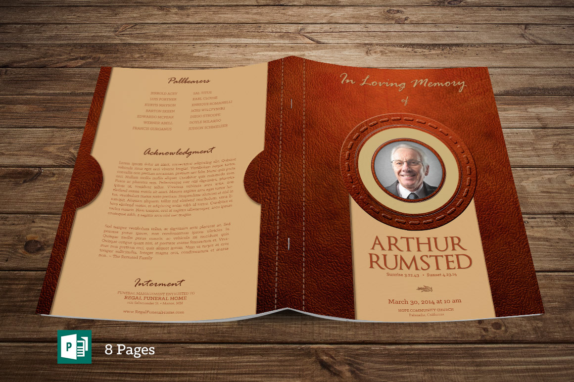 Leather Funeral Program Publisher Template - 8 PAGES example image 1