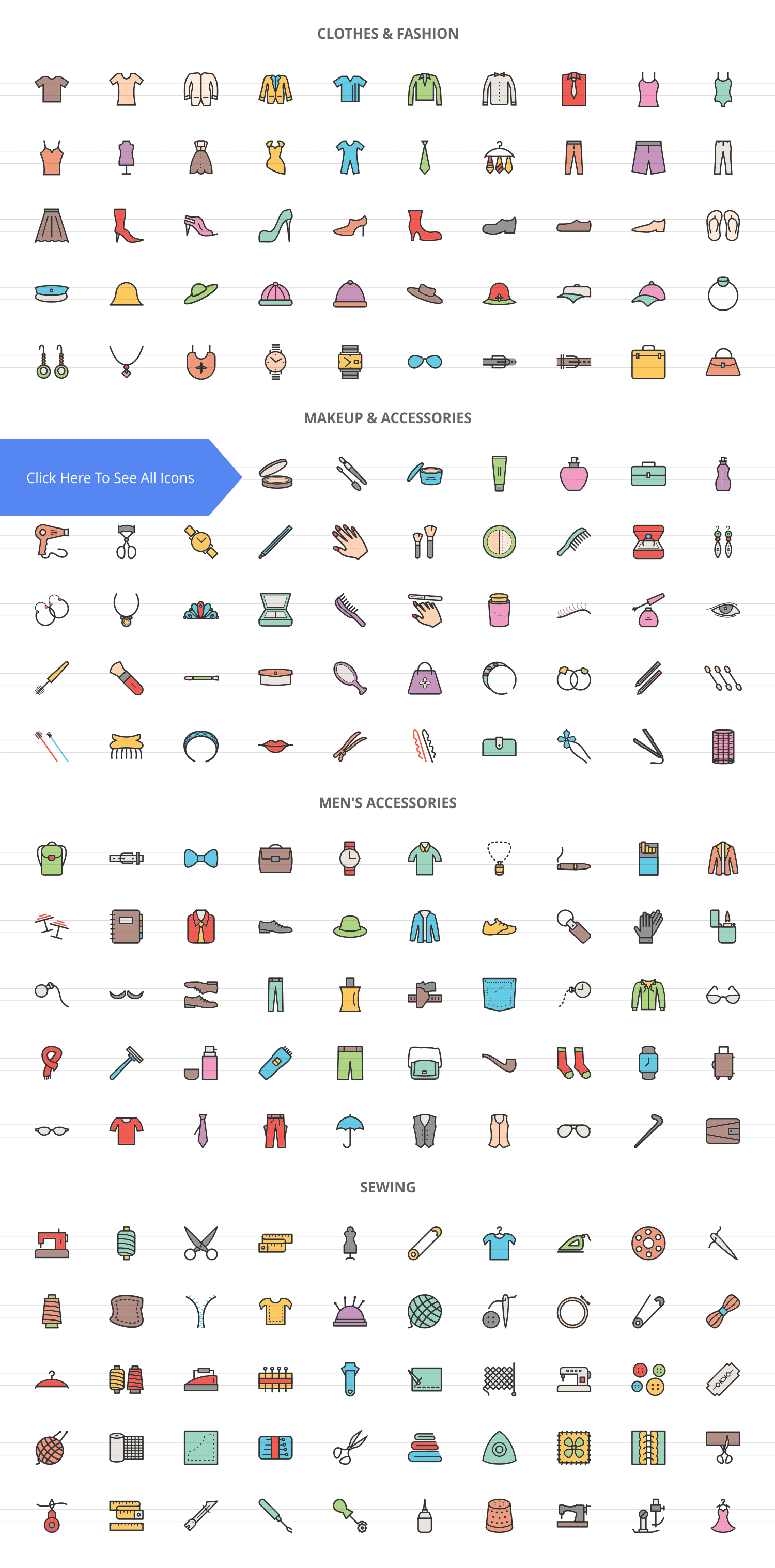 200 Fashion Filled Line Icons example image 2