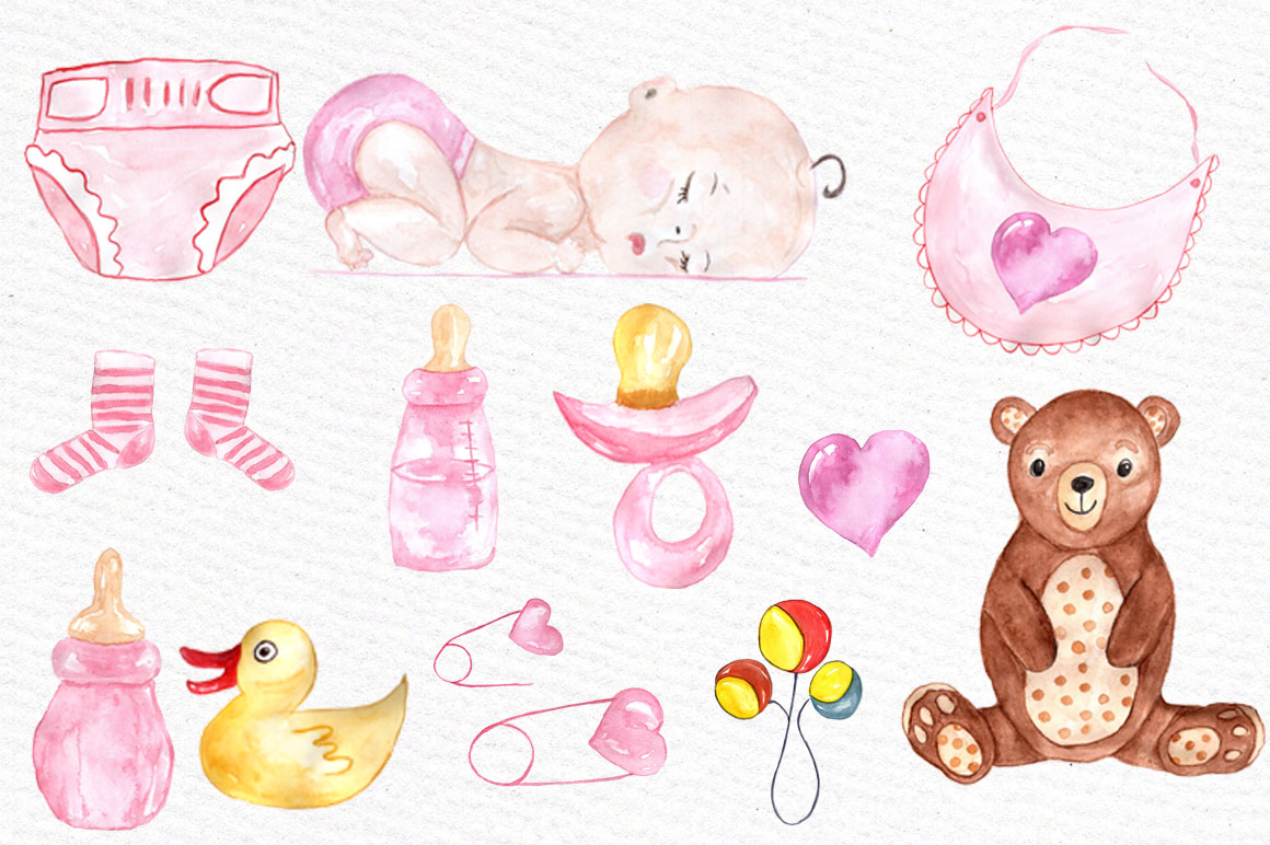 Watercolor baby shower girl clipart example image 3
