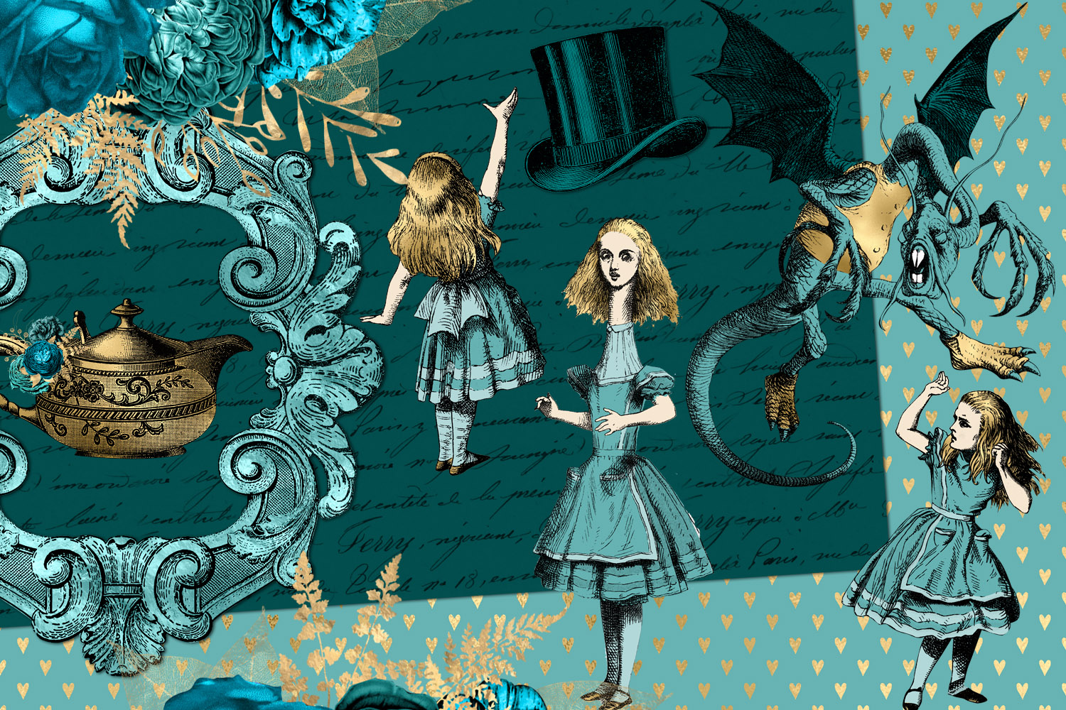 Teal and Gold Alice in Wonderland Graphics example image 3