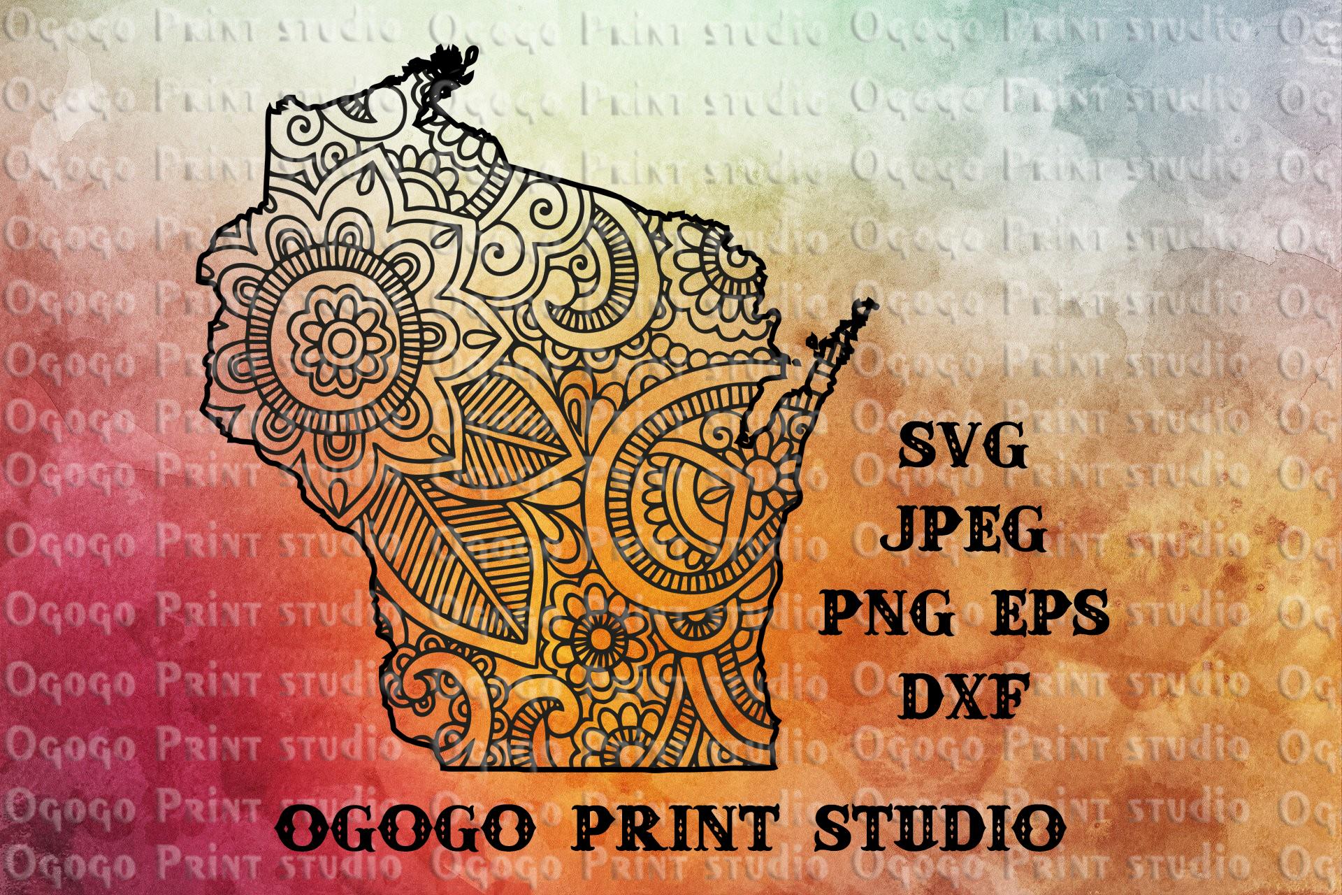 Wisconsin SVG, Zentangle SVG, Travel svg, Mandala svg example image 1