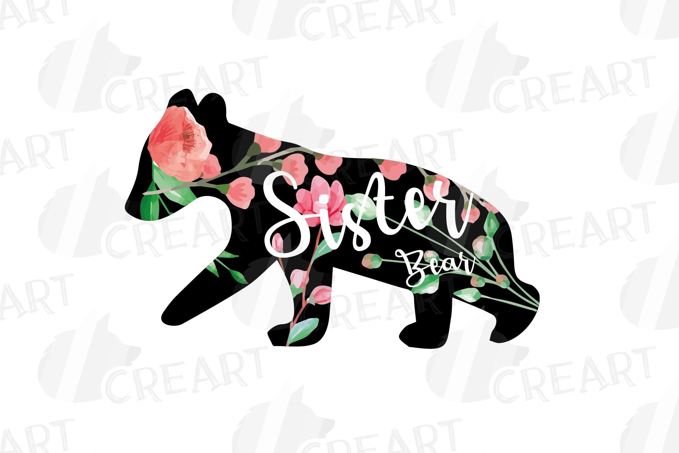 Floral bear family, sister, brother, baby, papa and mama example image 10