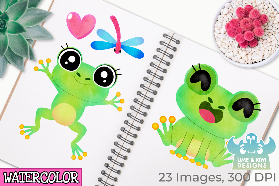 Frog Girls Watercolor Clipart, Instant Download Vector Art example image 3