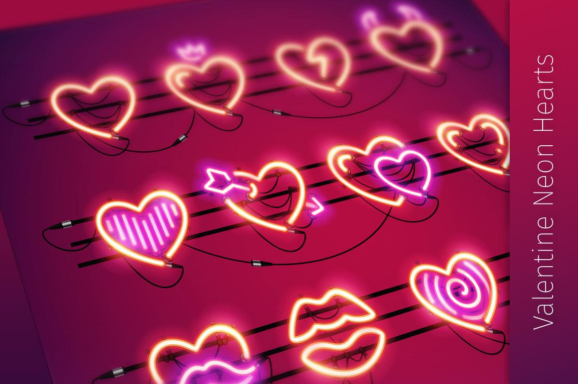 Valentine Neon Hearts example image 1