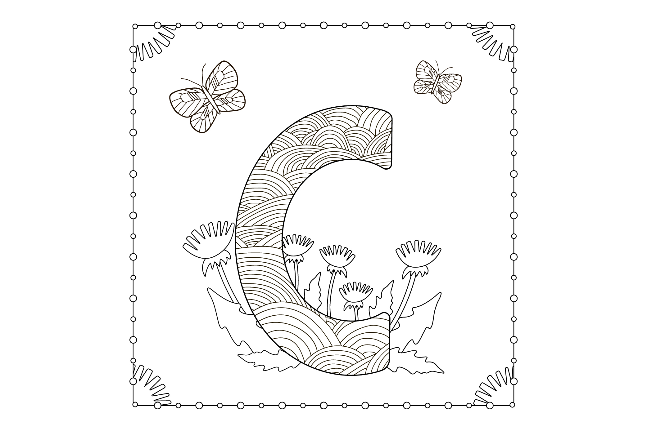 Letter C. Flowers. Coloring page. example image 1