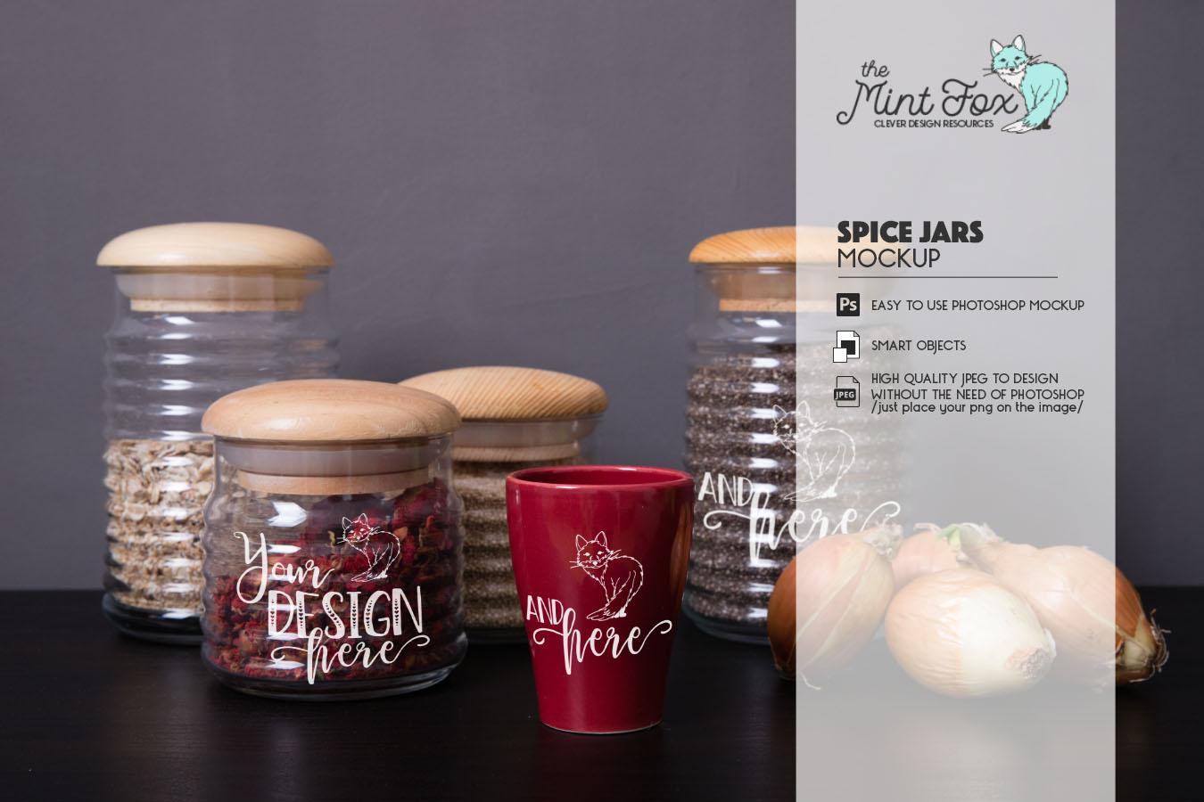 Spice Jars Mockup | PSD & JPG Mocku example image 2