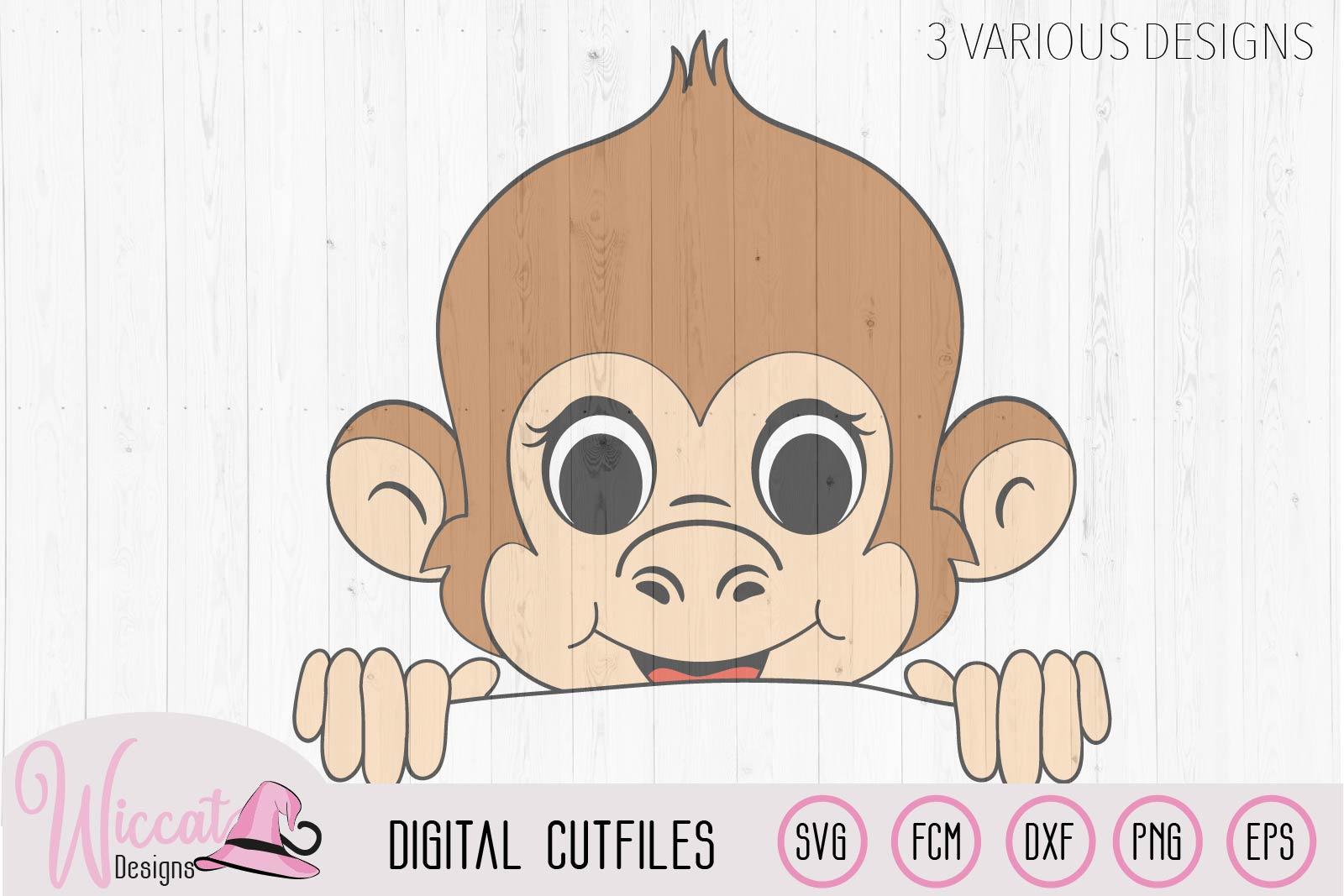Peeka Boy monkey svg, monkey with cap, fcm cut file example image 2