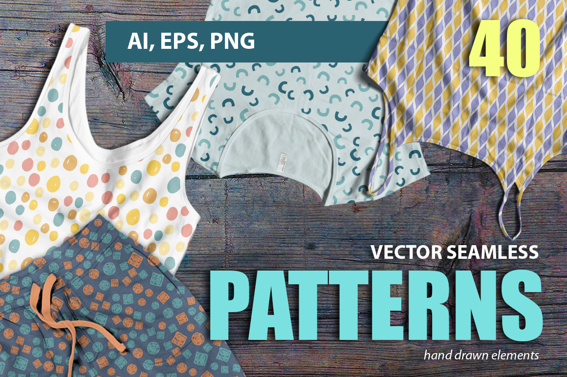 Vector seamless hand drawn colorful patterns example image 1