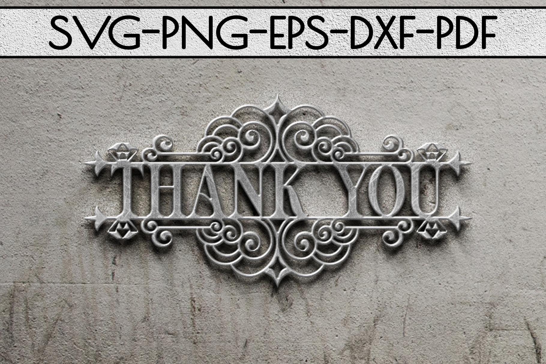 Thank You Papercut Templates Bundle, Laser Vector SVG, PDF example image 6