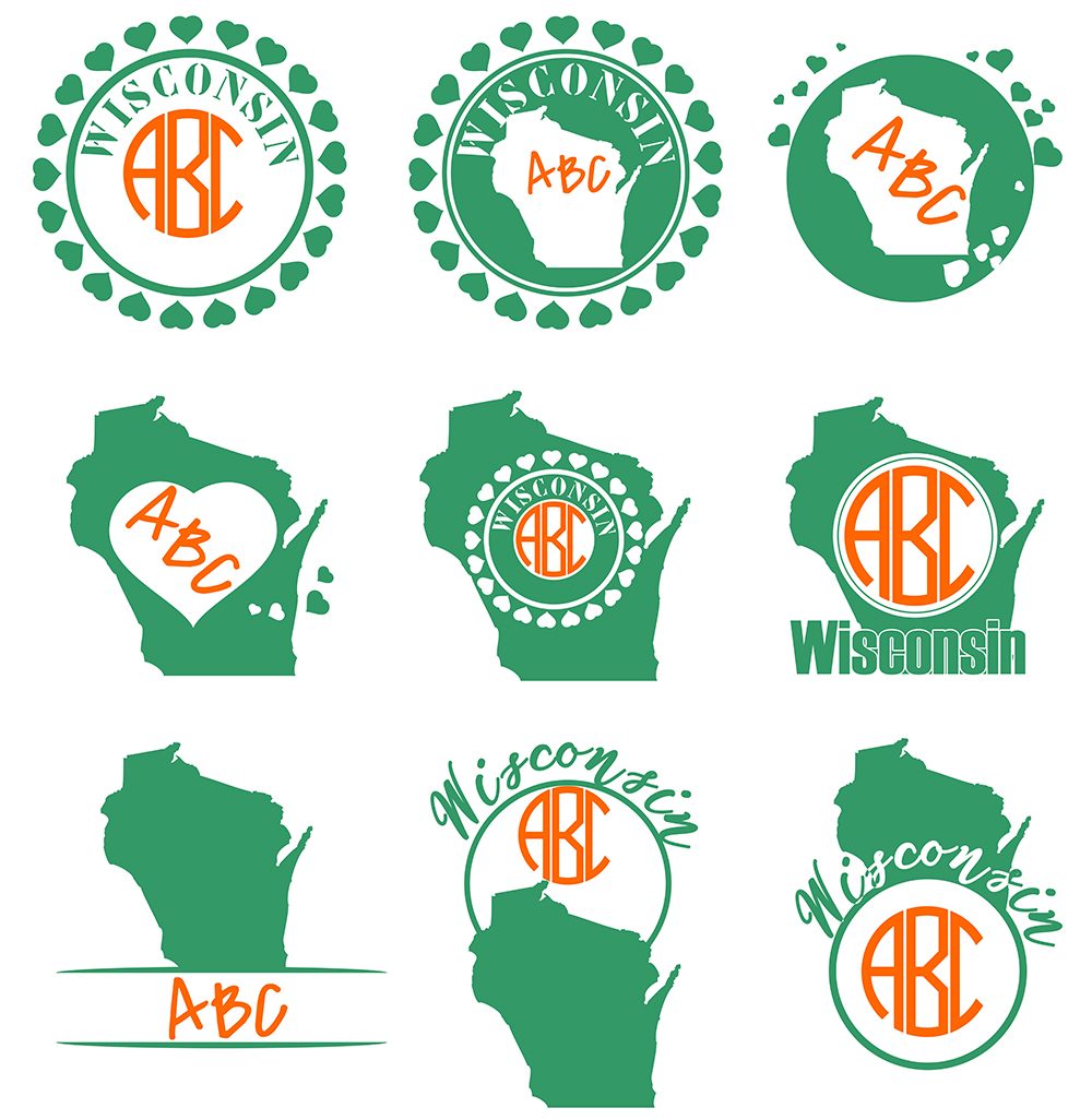 Wisconsin Monograms SVG, JPG, PNG, DWG, CDR, EPS, AI example image 2