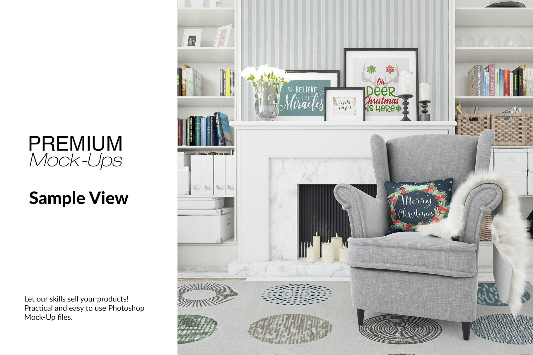 Christmas Living Room - Pillow & Frames Set example image 10