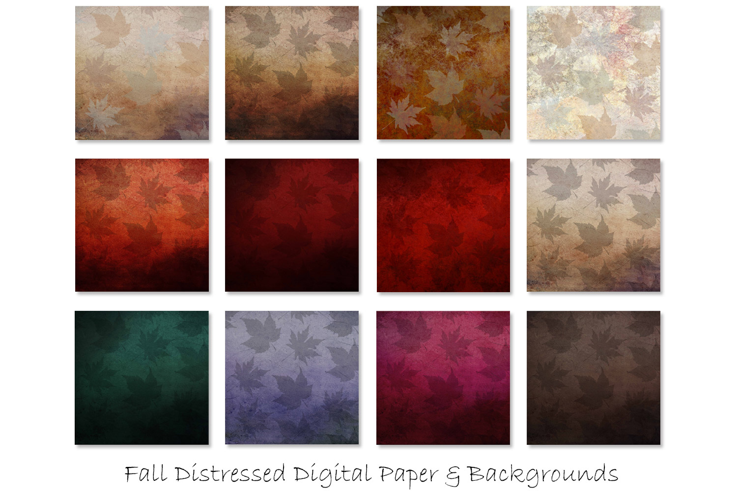 Distressed Fall Textures - Fall and Autumn Backgrounds example image 2