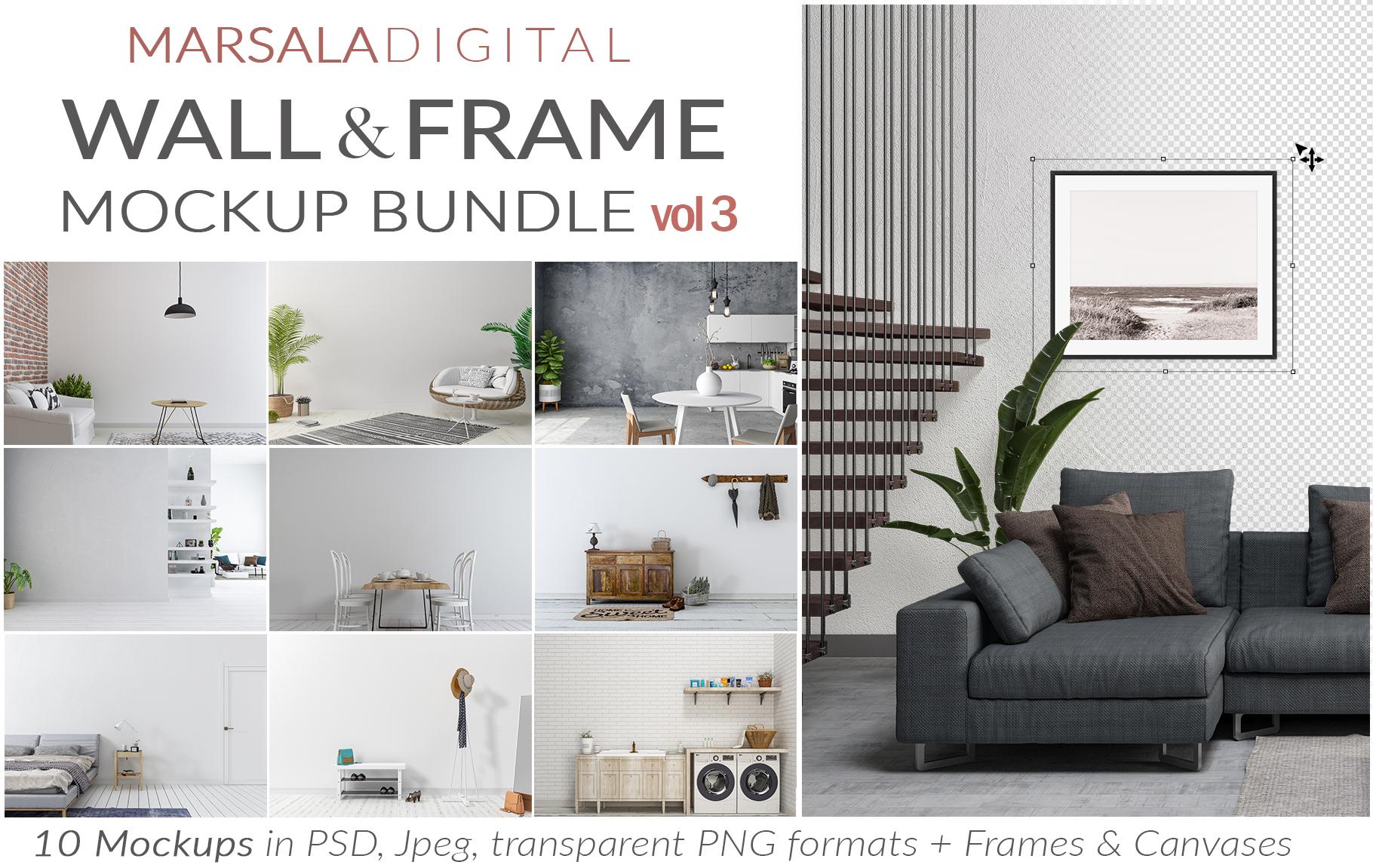 Massive Interior Wall Mockup, Frame Mockup Bundle FREE sampl example image 9