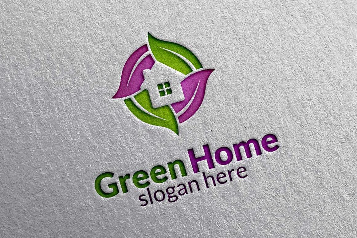 Real estate Logo, Green Home Logo 3 example image 4