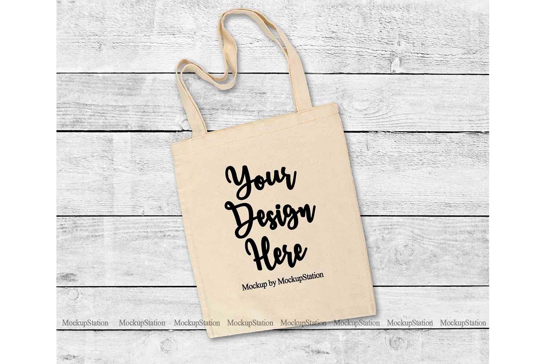 Natural Tote Bag Mockup, Beige Grocery Bag Flat Lay Mock Up example image 1