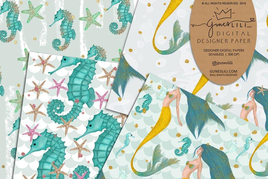 Blue Mermaid Digital Paper Pattern Summer Fashion Seamless example image 4