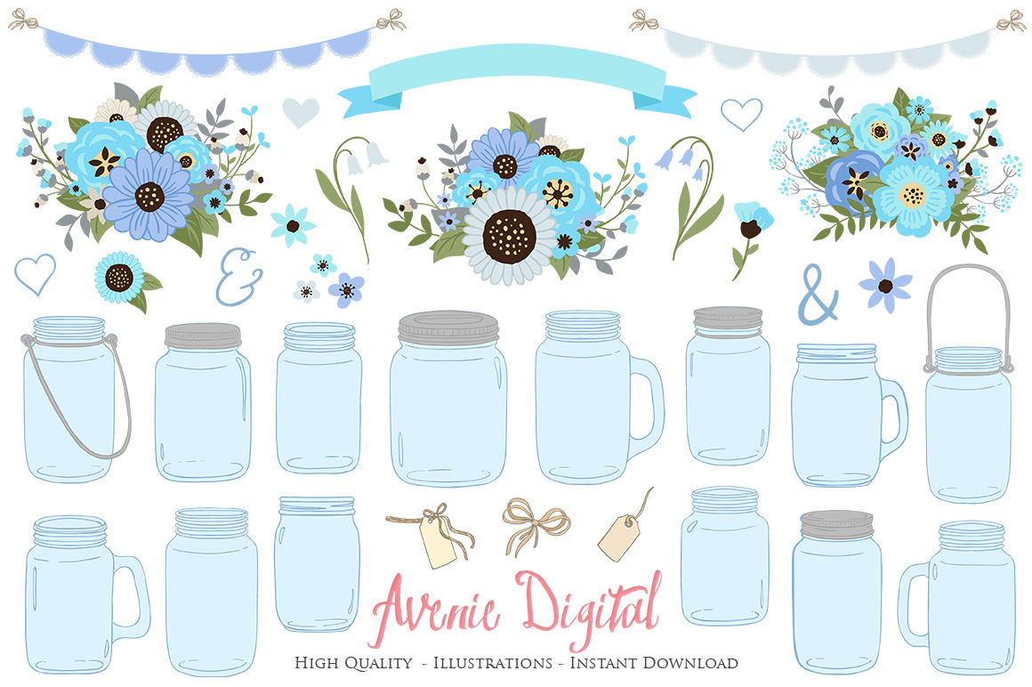 Blue and Gray Floral Mason Jar Wedding Clipart example image 1