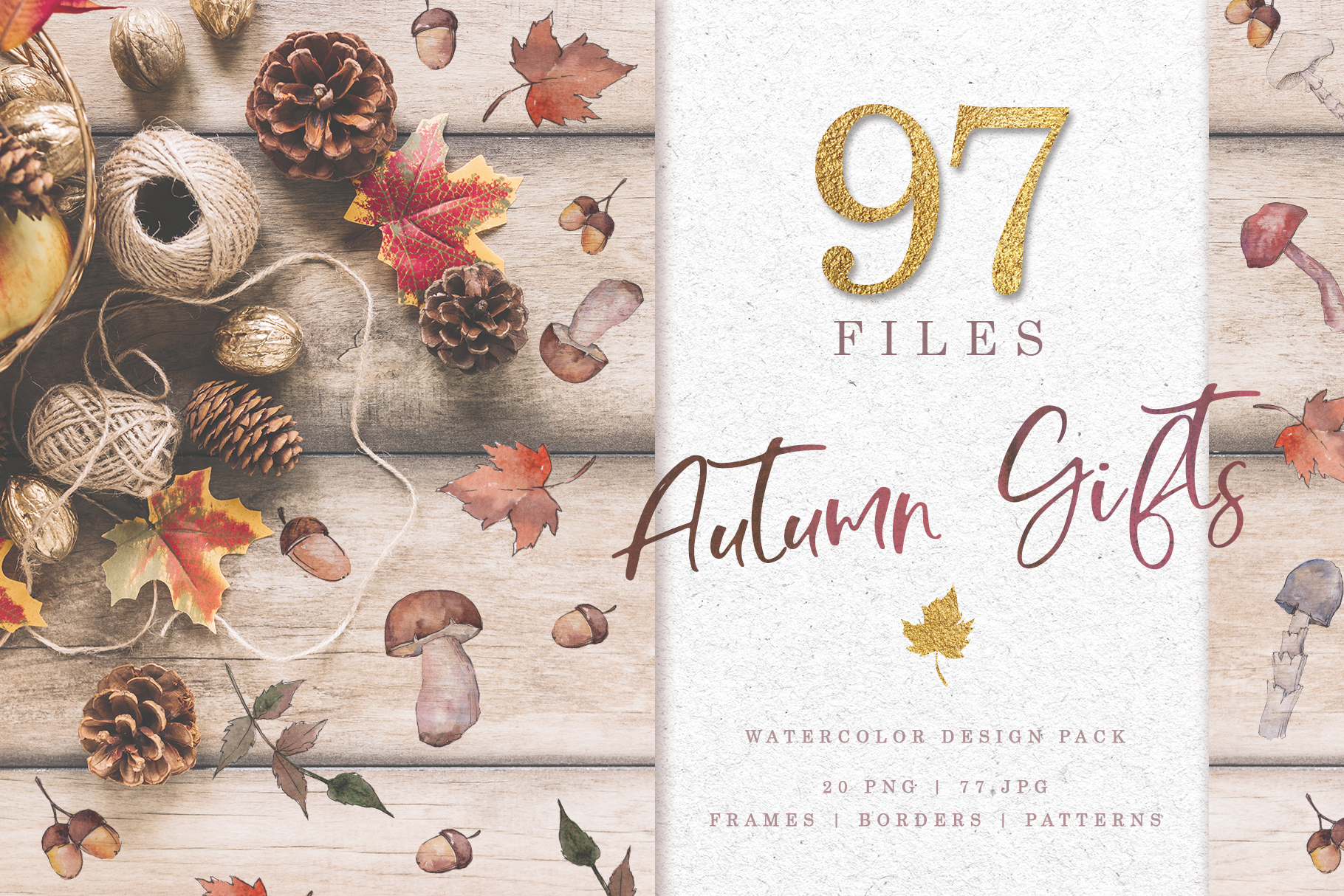 Gifts of autumn PNG watercolor set example image 1