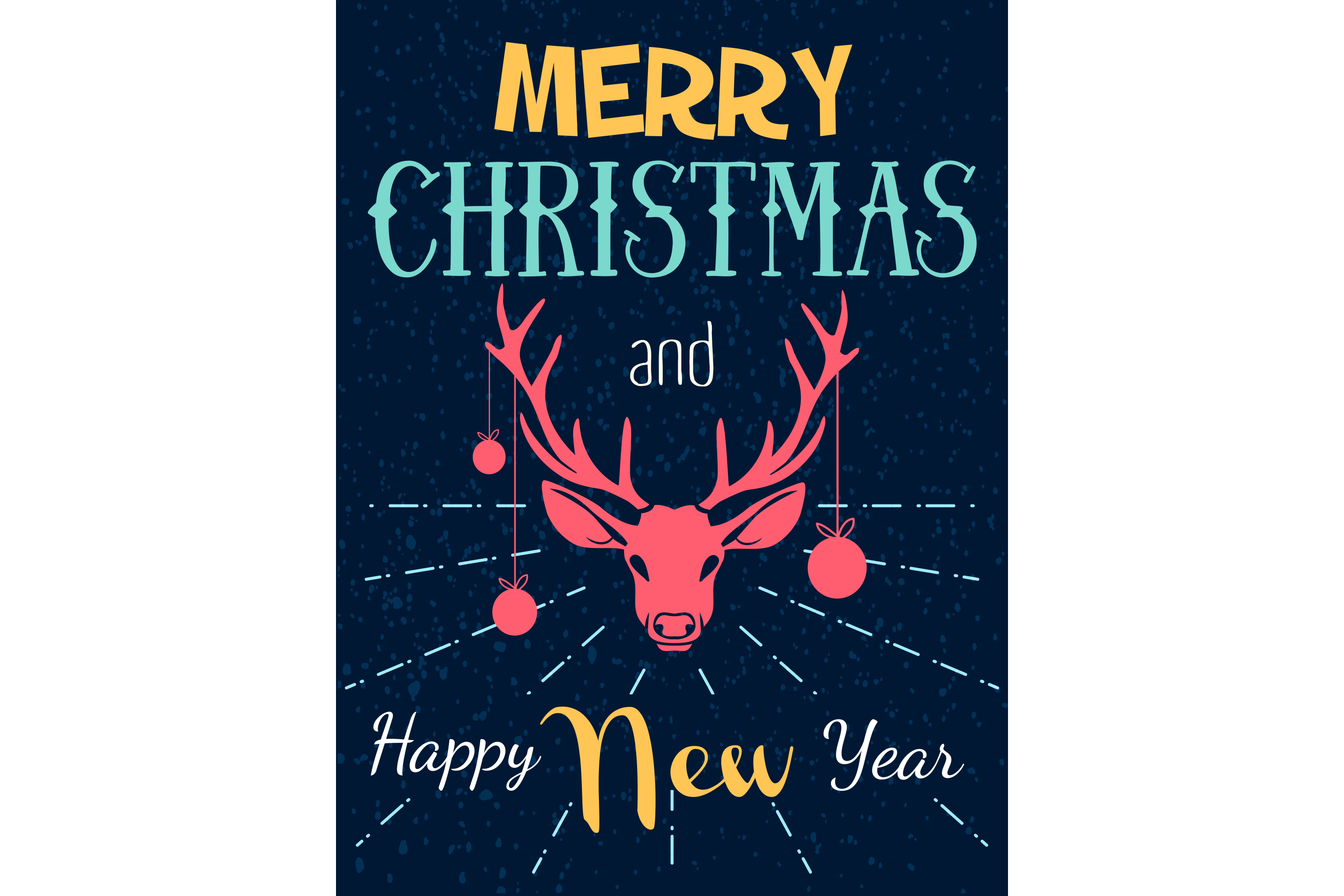 Vector christmas and new year poster with deer example image 2