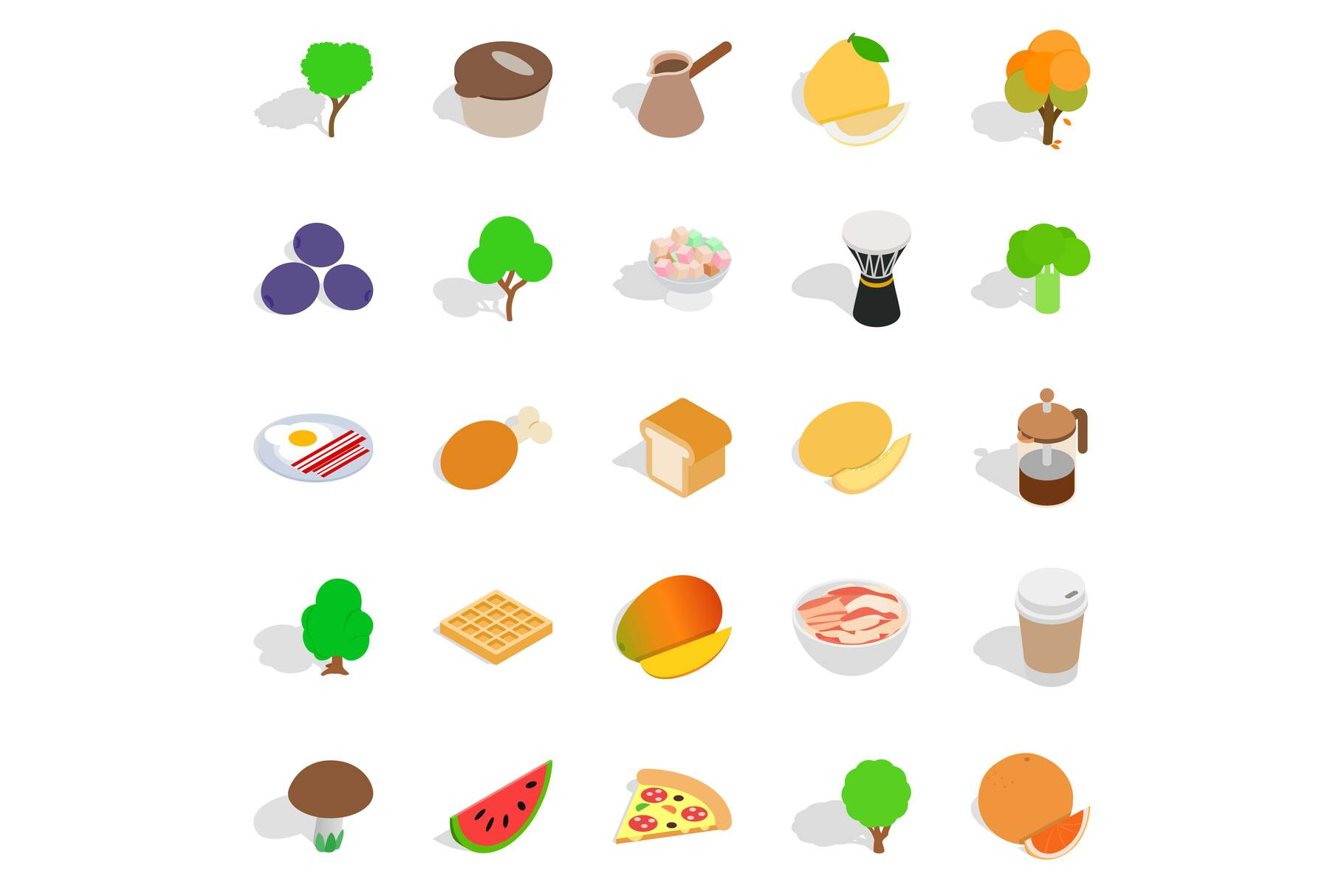 Drink coffee icons set, isometric style example image 1