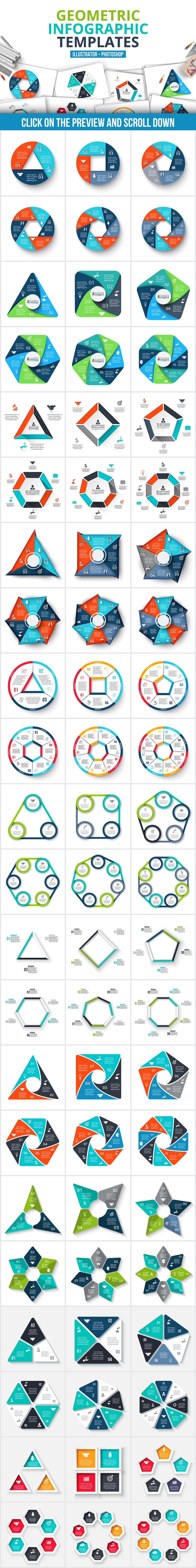 Geometric infographic templates example image 2