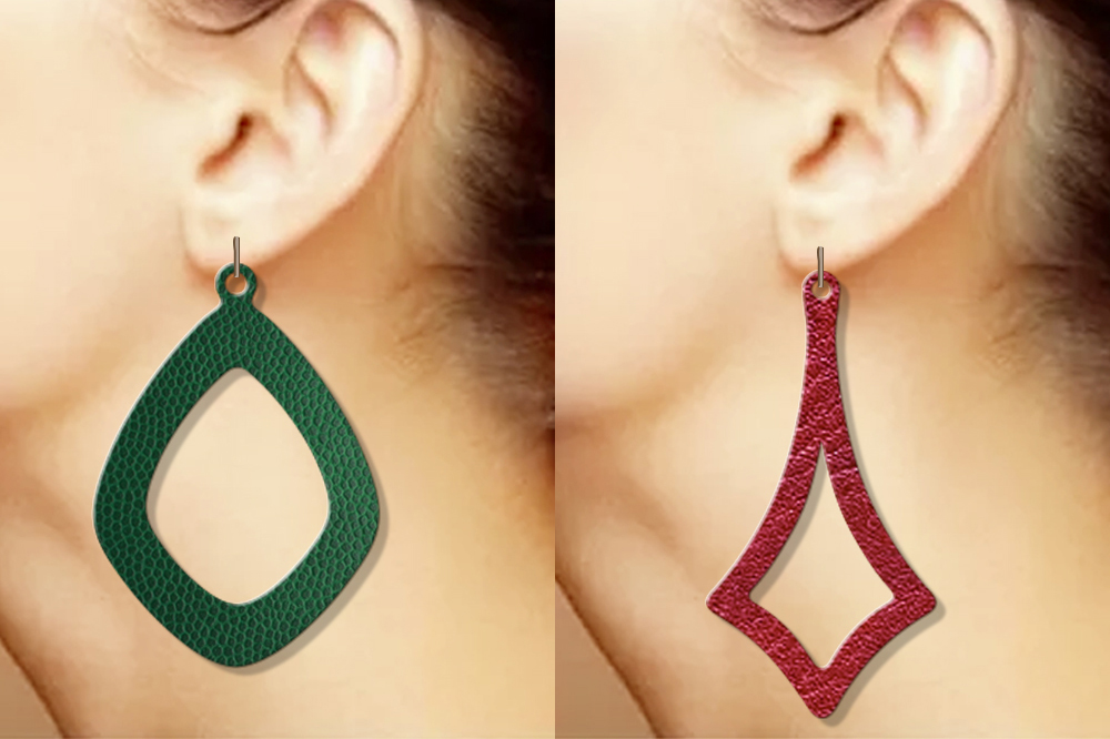 12 Geometric earrings svg Wood earrings svg Necklace svg example image 3