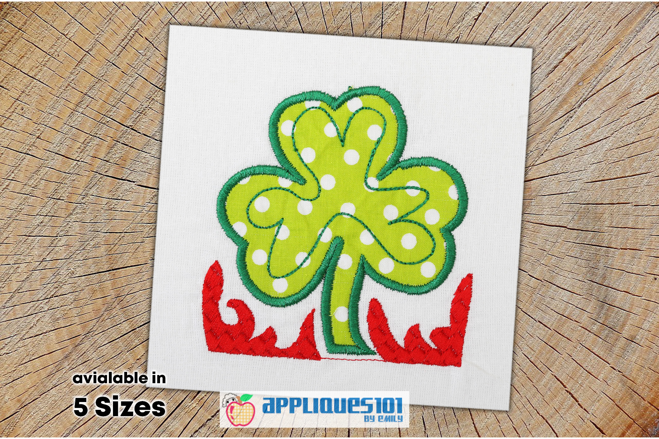 St. Patrick's Flower Embroidery Applique Design - Flowers example image 1