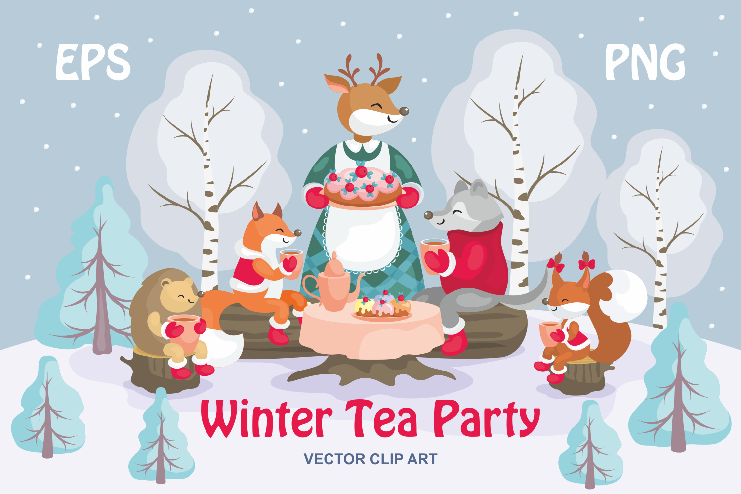 Christmas bundle. Vector cliparts and seamless patterns example image 13