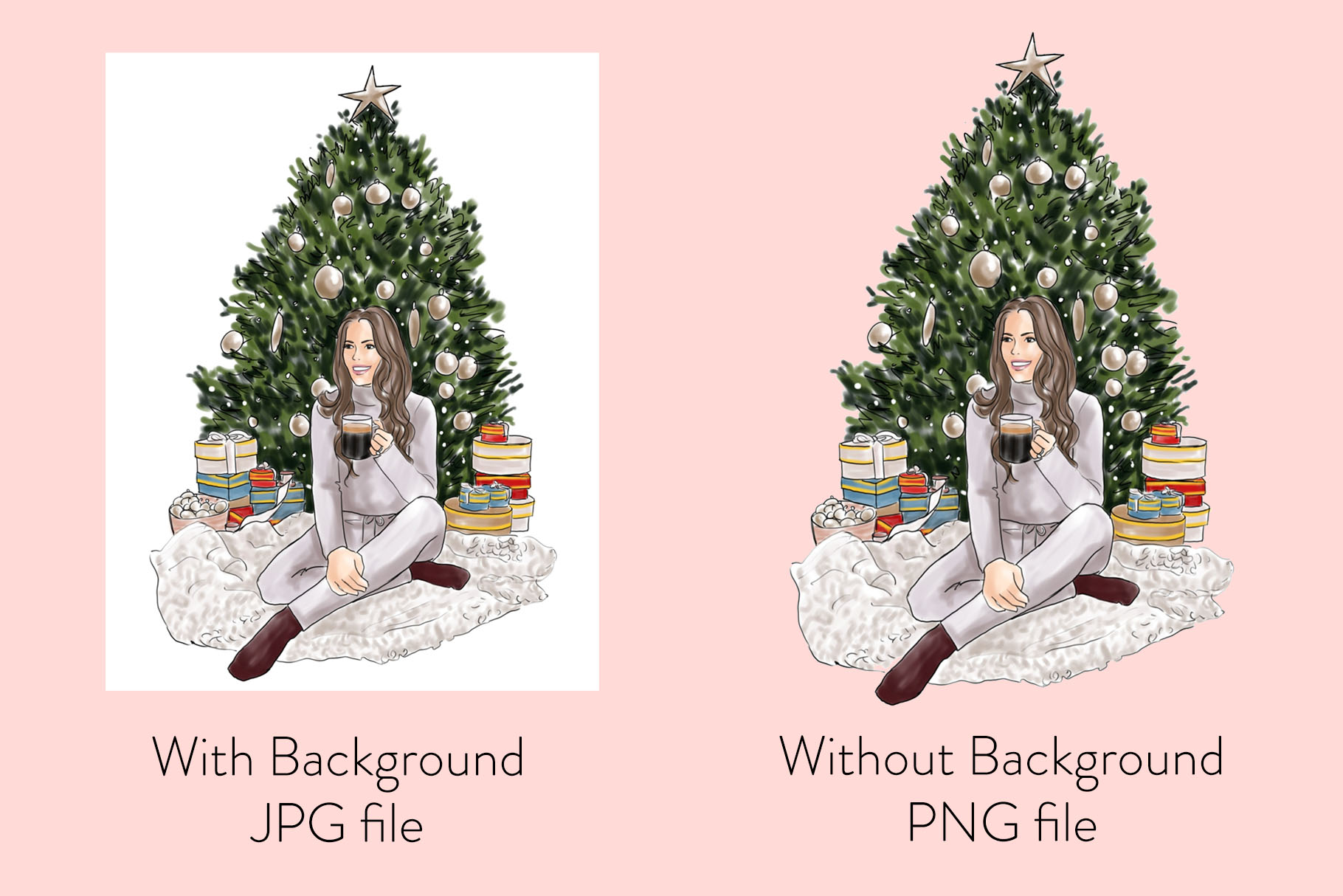 Fashion illustration - Christmas Girl 6 - Light Skin example image 2