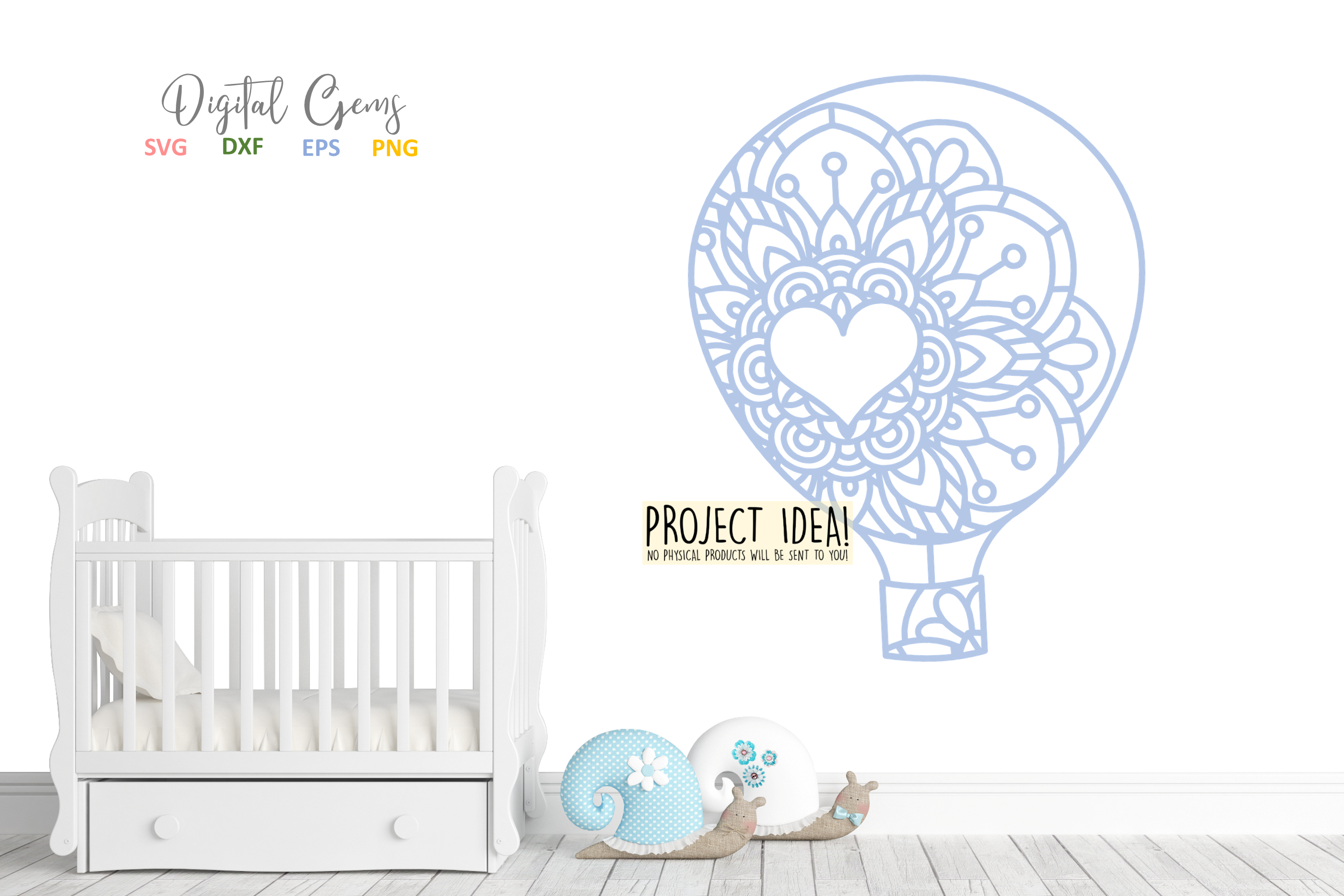 Hot air balloon paper cut design SVG / DXF / EPS / PNG files example image 4