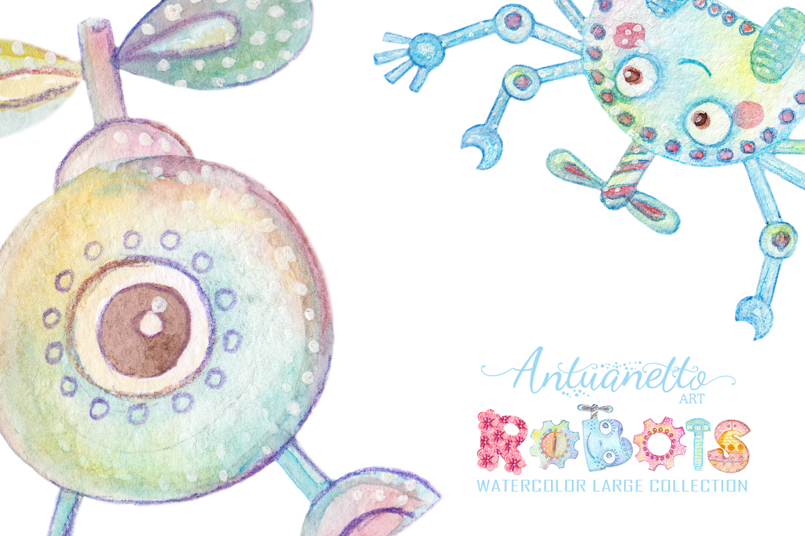 Watercolor Robots Party example image 5