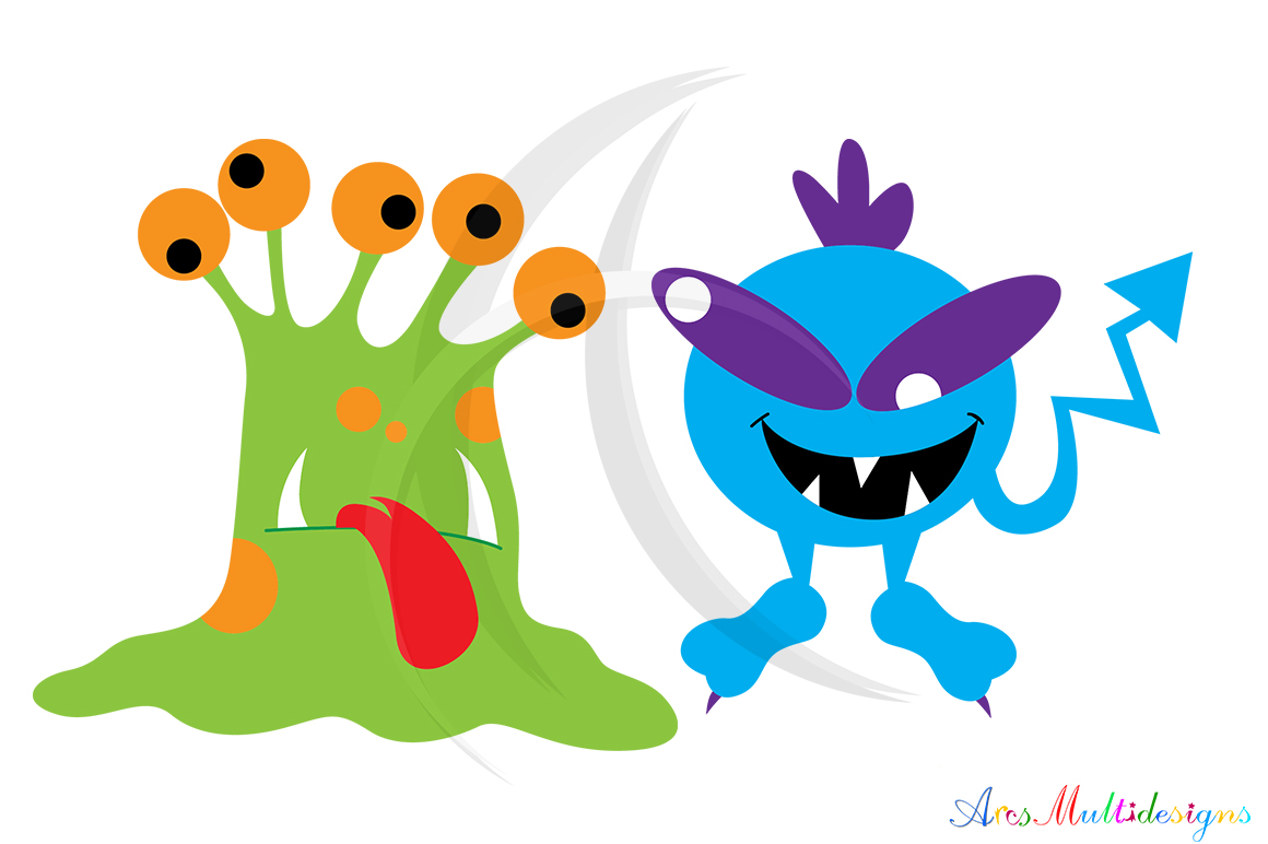 Monster characters svg / cute monster SVG / monster svg vector/ hand drawn monster SVG / Eps / Png / monster clip art / monster silhouette example image 2