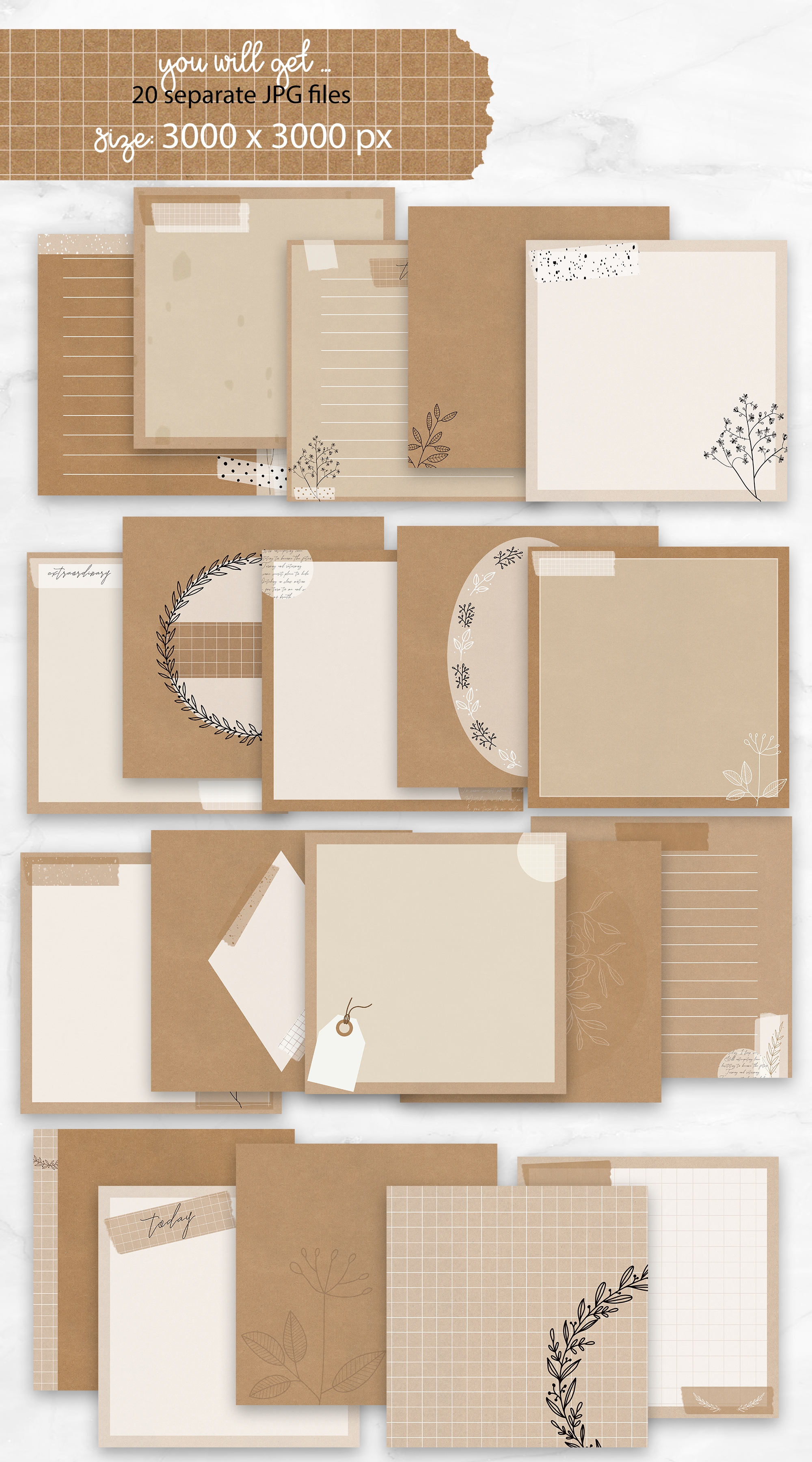 20 Kraft Digital Backgrounds | perfect for Lettering example image 2