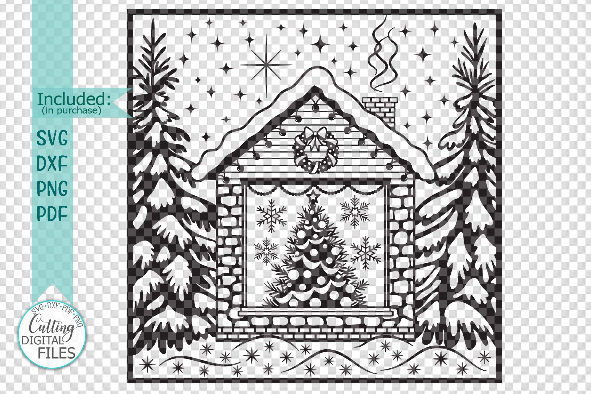 Christmas House with Tree Winter scene printable cutting svg example image 3