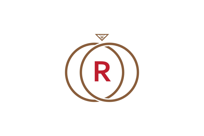 r letter ring diamond logo example image 1