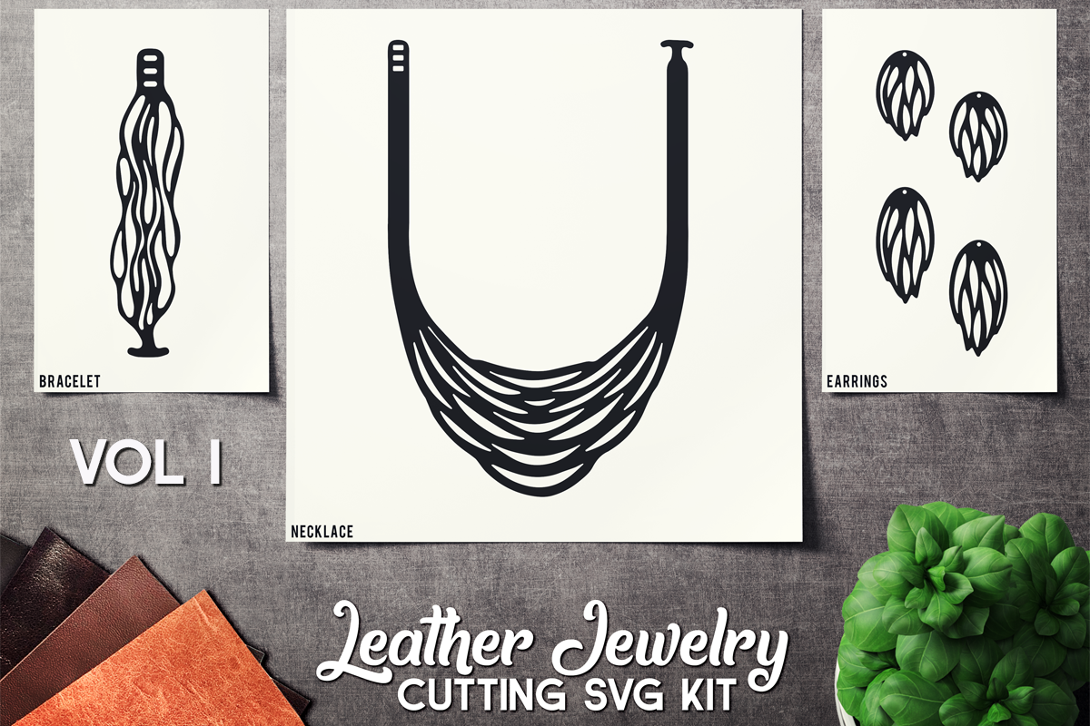 Leather Jewelry CUT Template- Earrings - Bracelets - VOL 1 example image 1